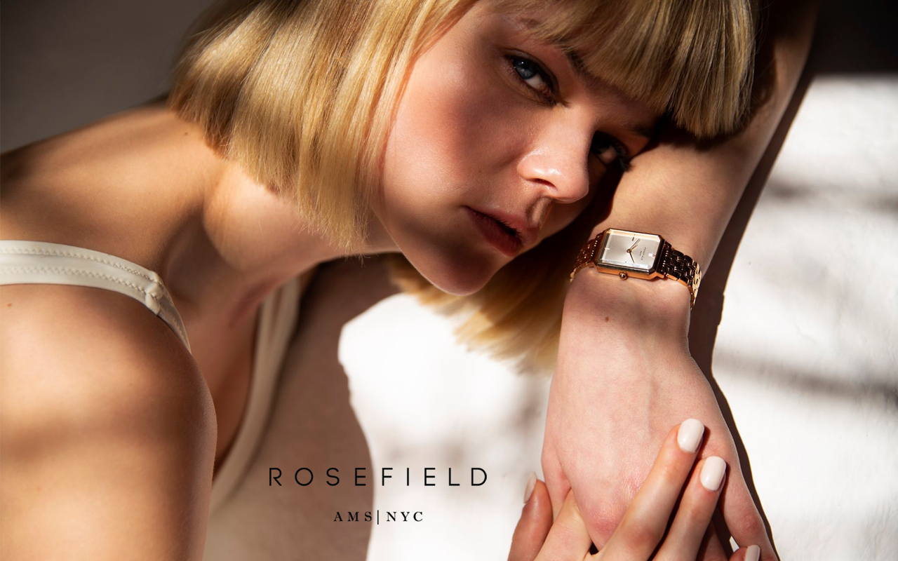 ROSEFIELD_THE BOXY_White Sunray Steel Silver Rose gold Duo_玫瑰金_腕表_26mm